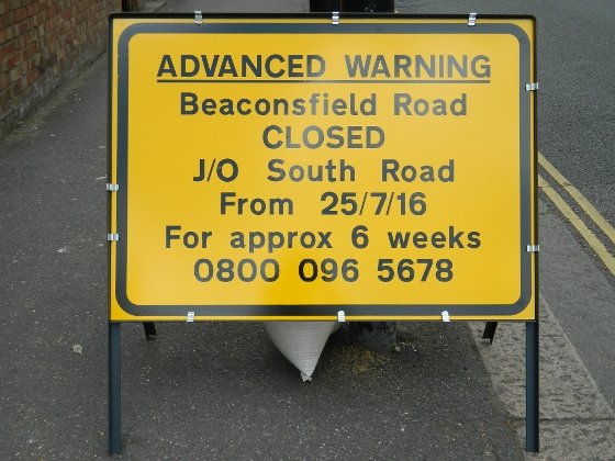 Beaconsfield Road closure sign - Southall